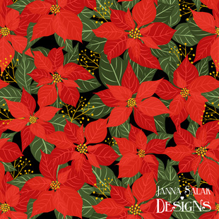 Red Poinsettia Winter Floral