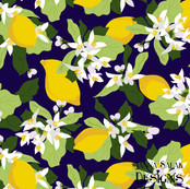 Lemon Blossom Dark Blue