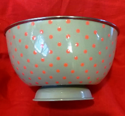 Grey / Orange Polka Dot Large Bowl