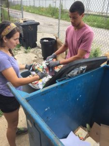 Tyler and Market Manager Liz conducting a waste audit after the market.