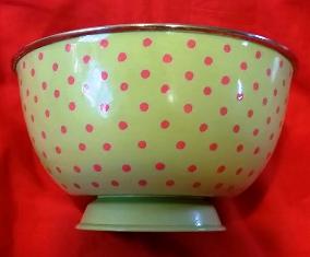 Green / Pink Polka Dot Large Bowl