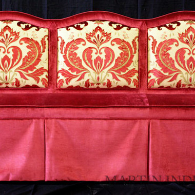 Custom Upholstered Red Velvet Damask Banquette