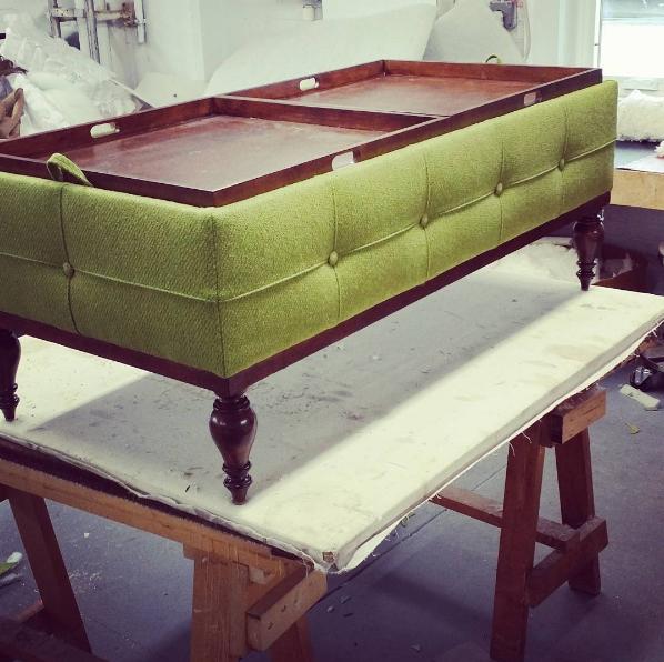 Custom green ottoman