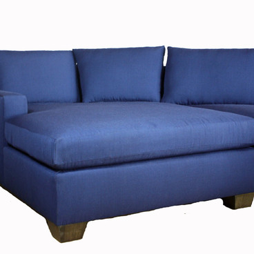 Custom Upholstered Blue Sectional Angled Chaise End