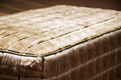 Quilted Faux Hair Hide Ottoman