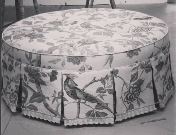 custom bird ottoman upholstered