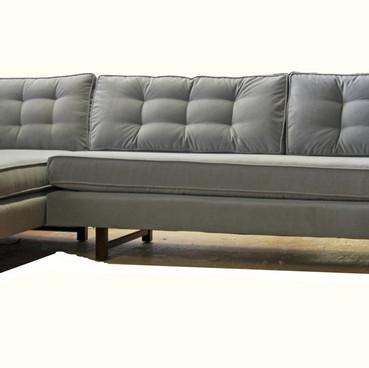 Gray Tufted Sectional Custom Upholstery