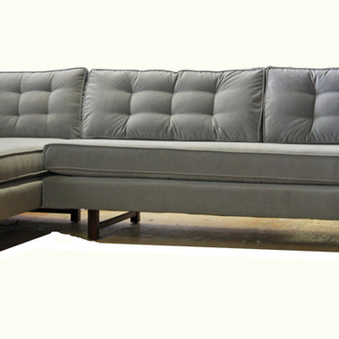 Gray Tufted Sectional Custom Upholstery