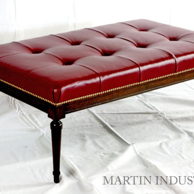 Custom Upholstered red leather tufted ottoman
