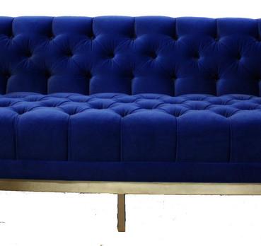 Custom Upholstery Blue Velvet Tufted Sofa