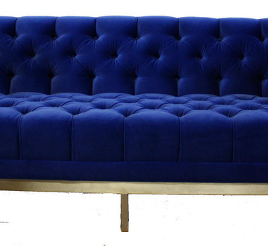 Custom Upholstery Blue Velvet Tufted Sofa