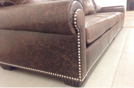 custom leather nailhead sofa
