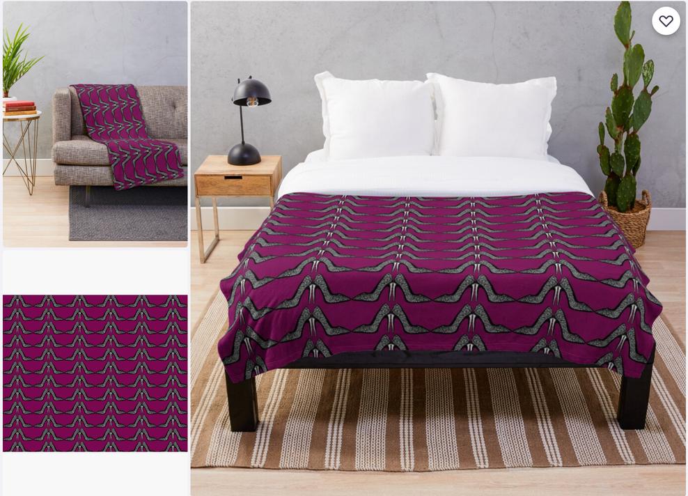 Mulberry stiletto heel throw blanket