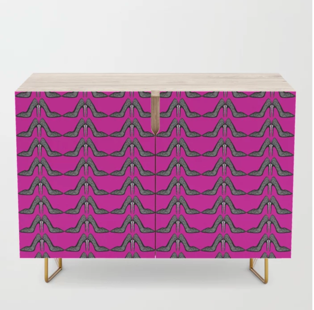 The hot pink stiletto heel credenza