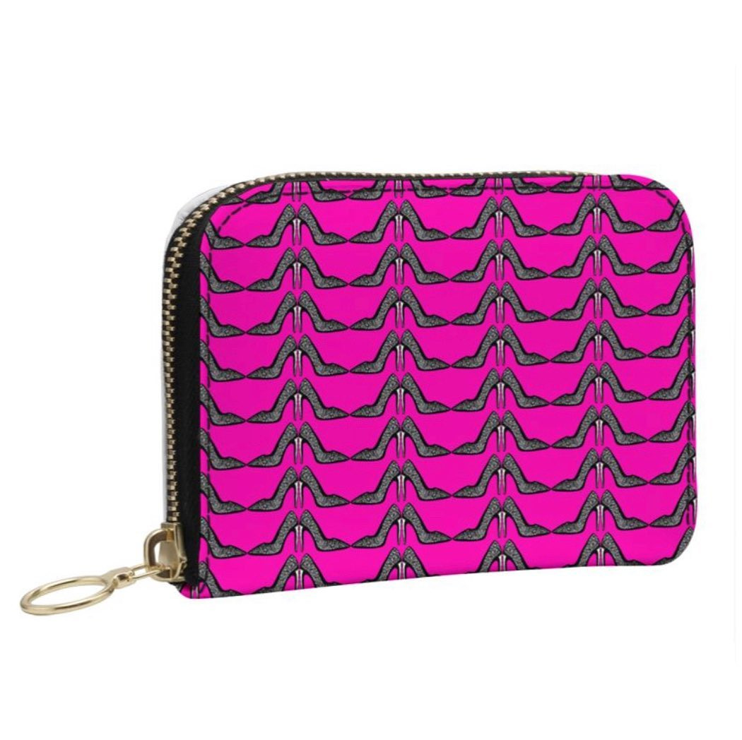 The hot pink stiletto printed purse
