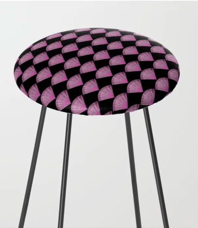 19th century fan counter stool