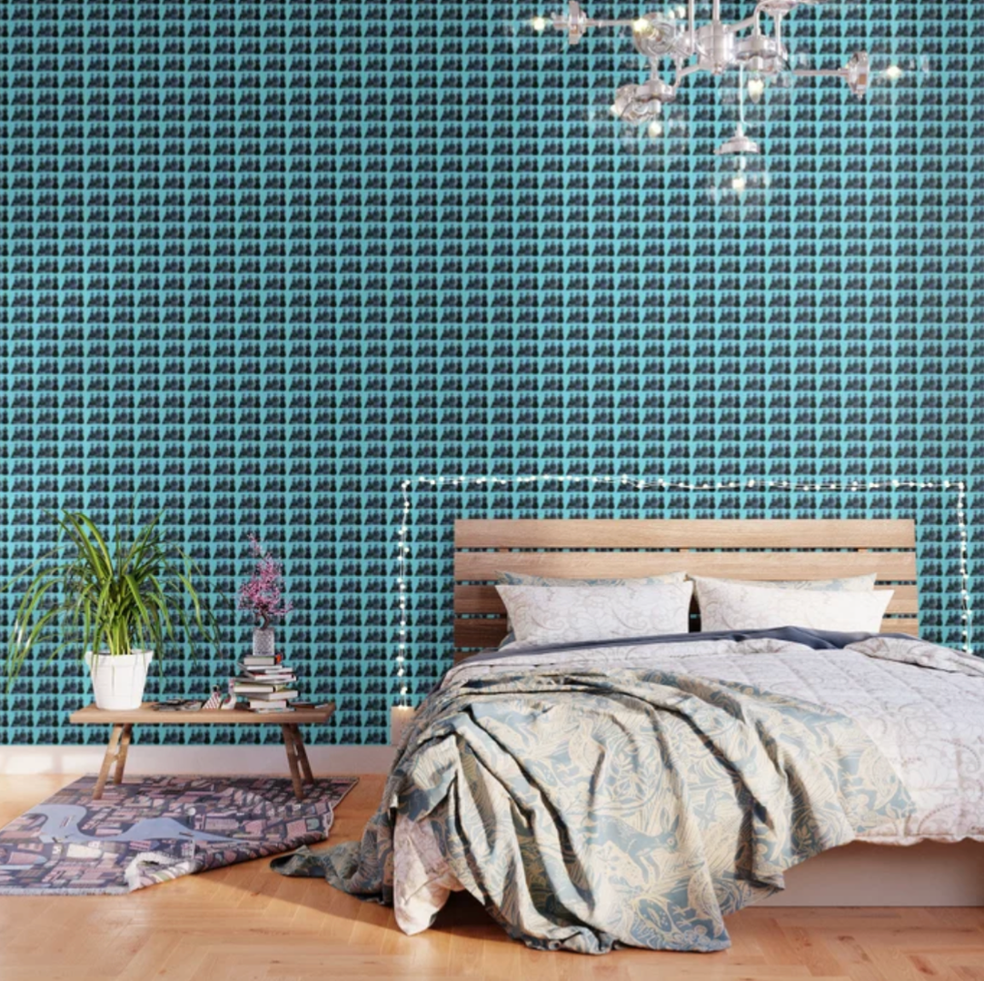 Turquoise victorian doll print wallpaper