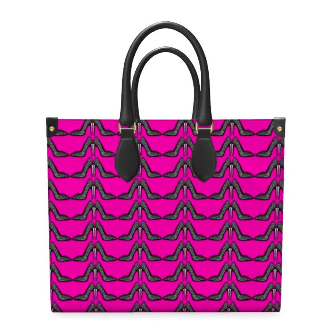 The hot pink stiletto printed leather shopper bag