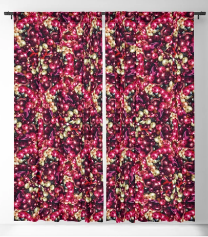 Pearls and beads printed curtains