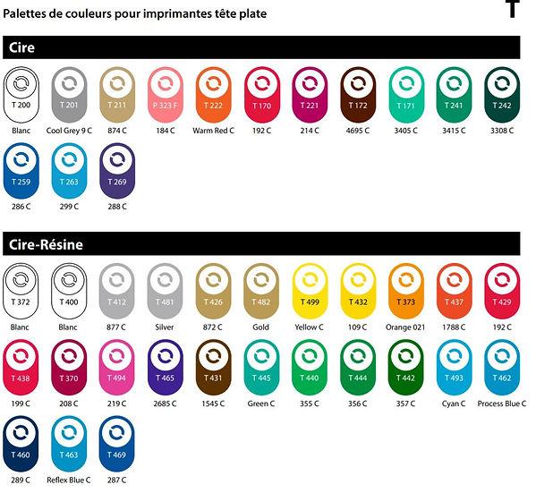 palettes de couleurs pour impriamntes te
