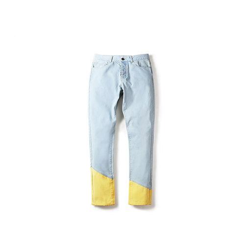 C2H4 LA 17SS RECONSTRUCT LEG LIGHT JEANS/ 黄色斜拼接牛仔裤