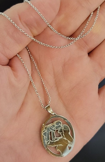 Silver Mother and Child Charm Necklace