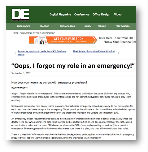 Your role in a dental office emergency