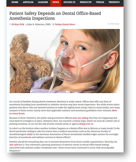 Patient safety depends on office-based anestheisa inpsections