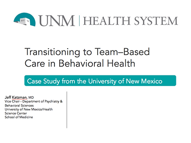 Team Based Care in Mental Health Case Stud