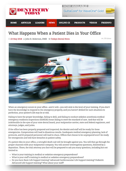 AAFDO describes what happens to a dentist when a patient dies