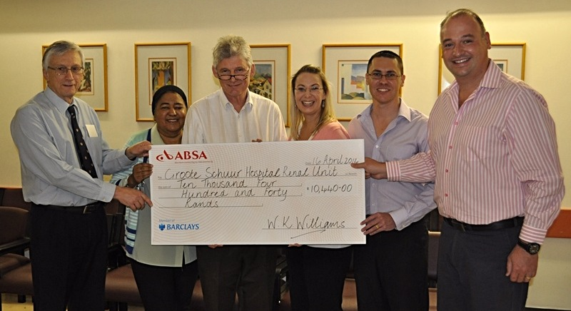 Donation to Renal Unit at Groote Sch
