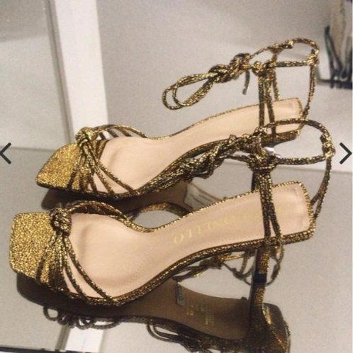 Sandália Craquelado Cecconello Ouro