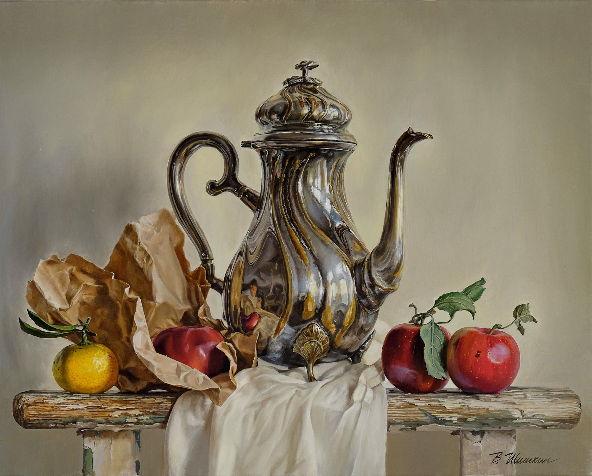 Still life with teapot and apples