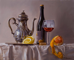 Still life with glass of wine