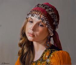 Girl in Eastern dress.