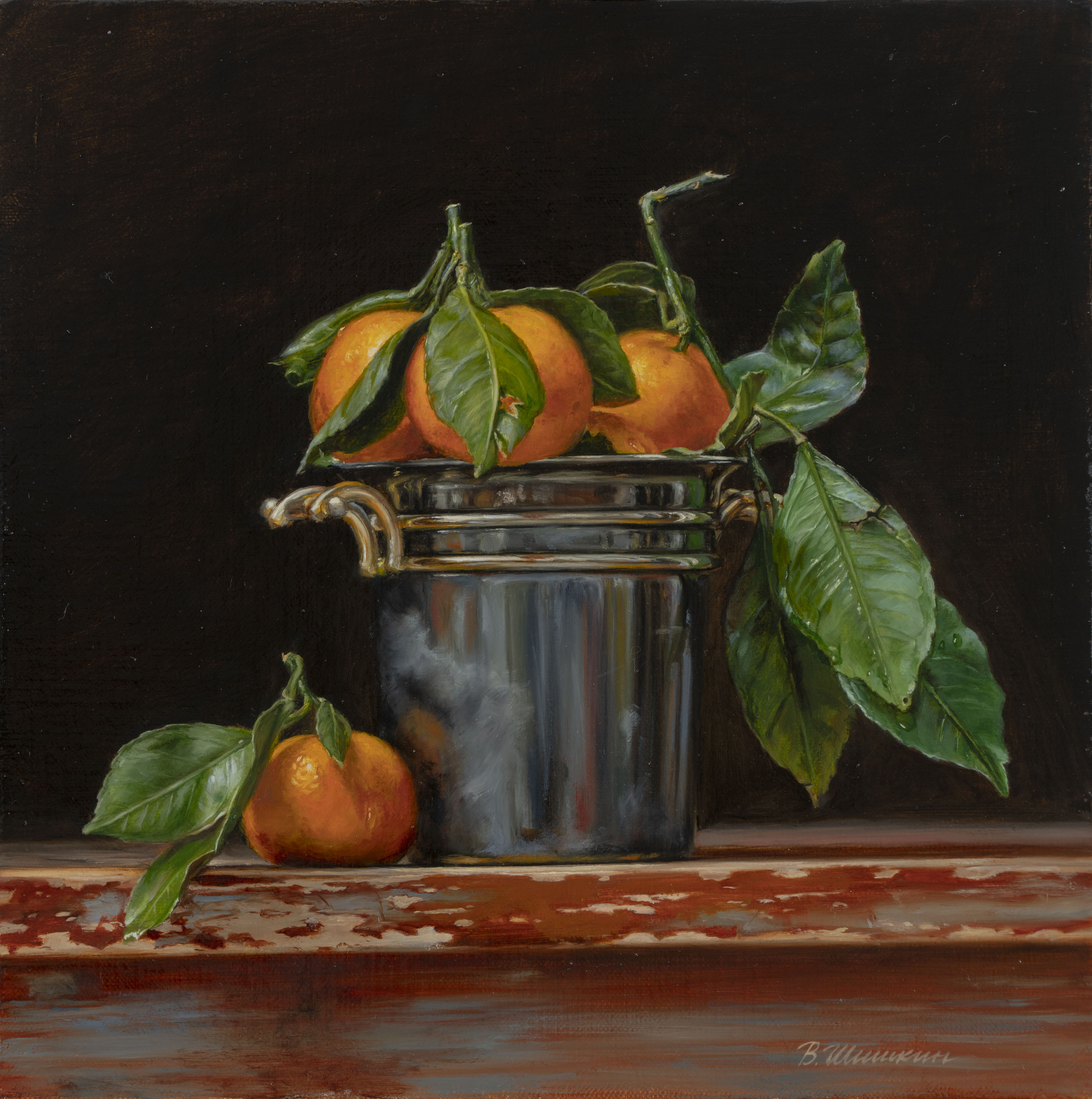 Tangerines in a bucket