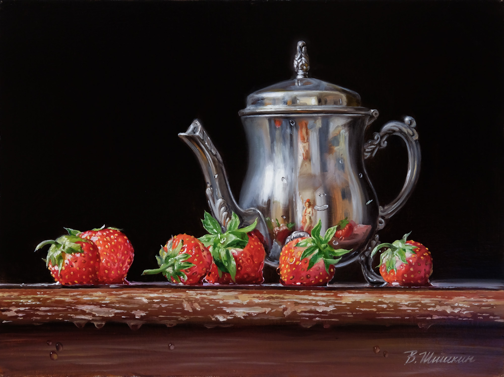 Kettle with strawberries
