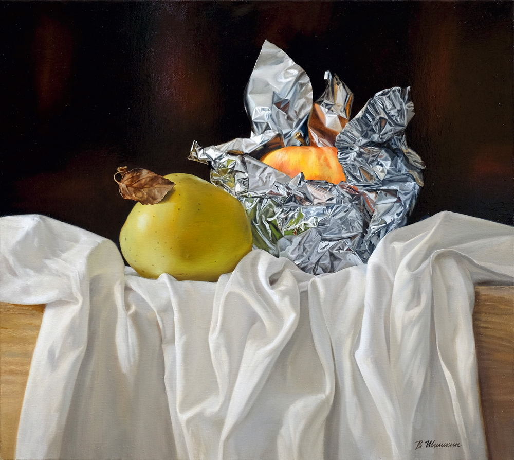 Apple in foil