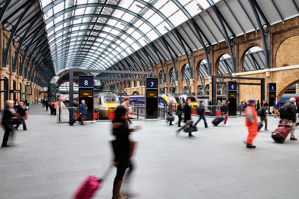 People moving through King's Cross Station in London