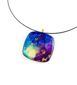 Hand painted alcohol ink on polymer pendant