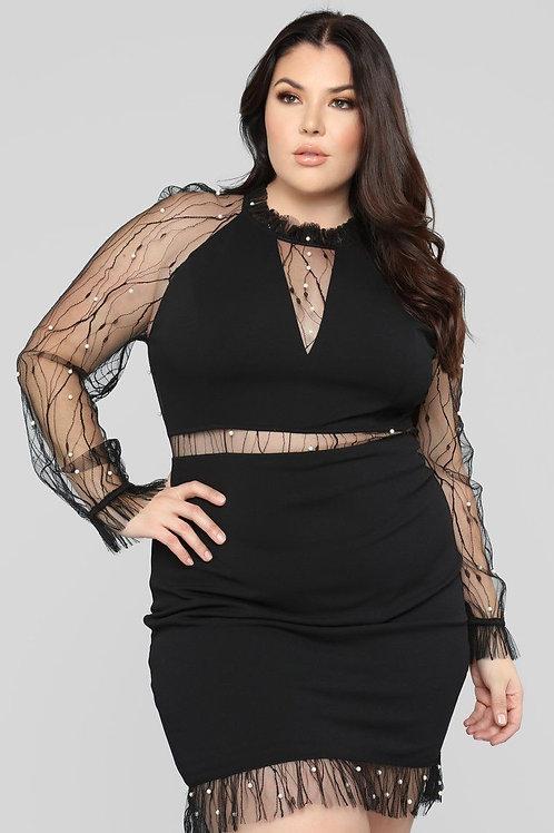 ONE PIECE BLACK DRESS WITH SHEER WAIST