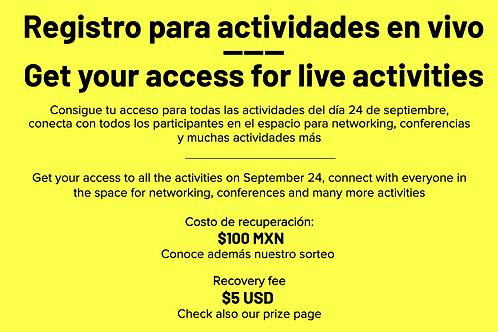 Registro para actividades en vivo   Registration for live activities