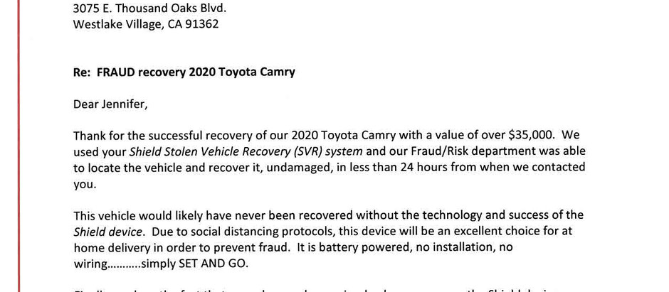 Fraud Recovery of 2020 Toyota Camry