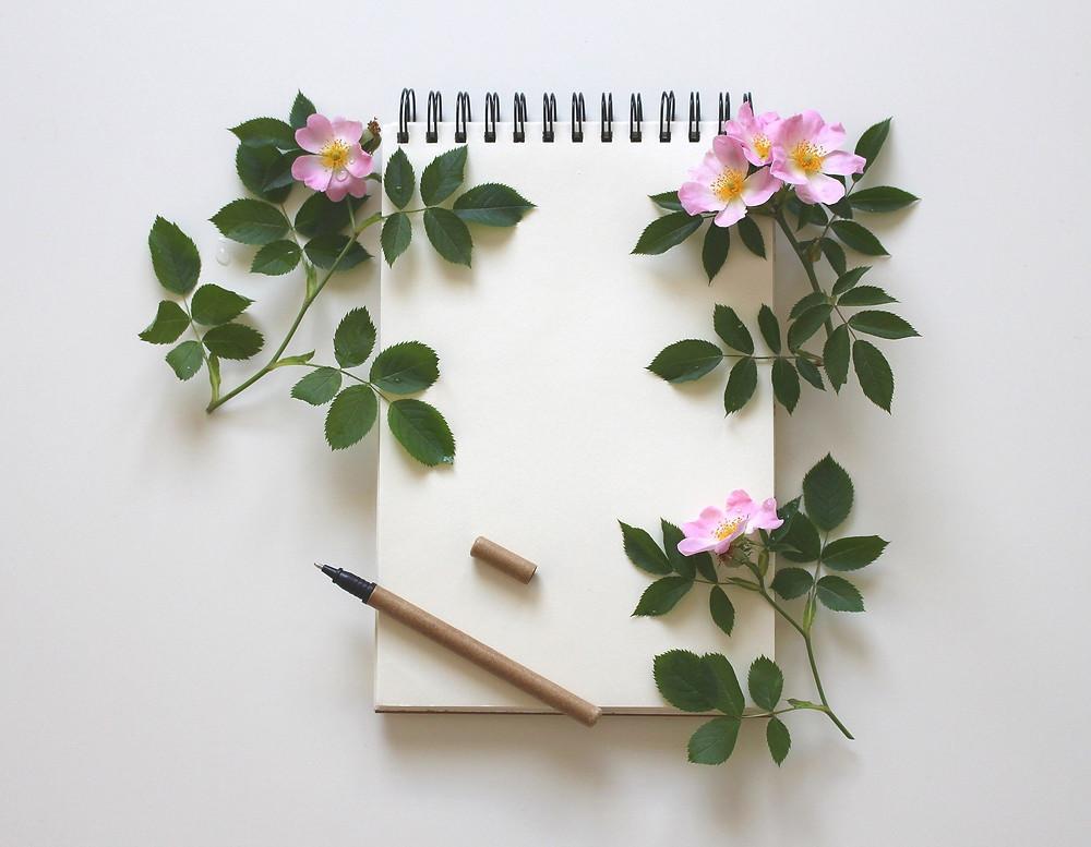 cahier page vierge fleurs