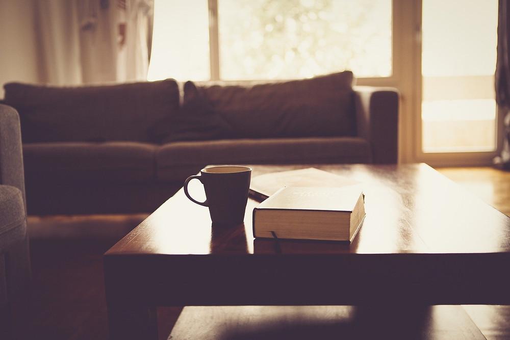 salon cosy chaleureux café livre