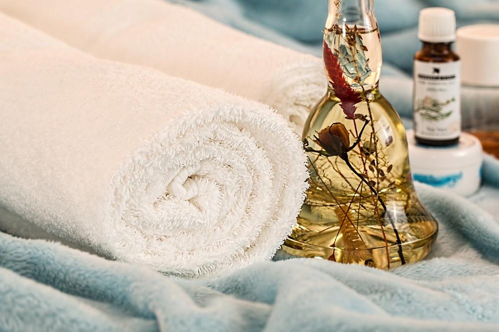 serviette chaude, aromathérapie