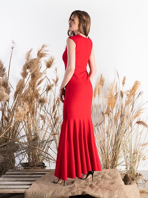 Красное стрейчевое платье