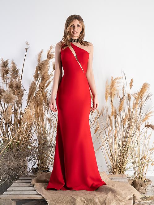 Силуэтное платье Jadore (красное)