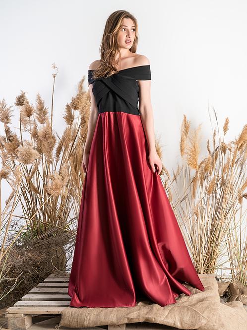 Атласное платье (черно-красное)