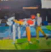 twi kwon do olympic series #2, oil on ma